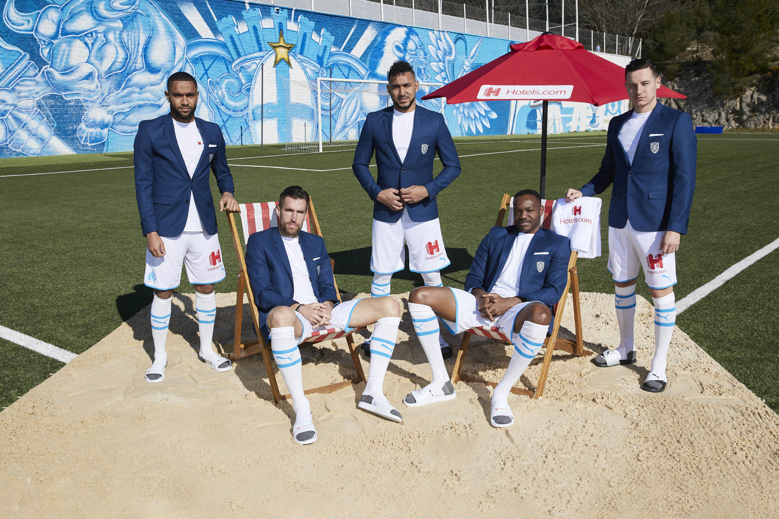 Olympique de Marseille Squad Promote sponsorship with Hotles.com Beach Ball Sand © Mark Robinson Photographer Hotels.com