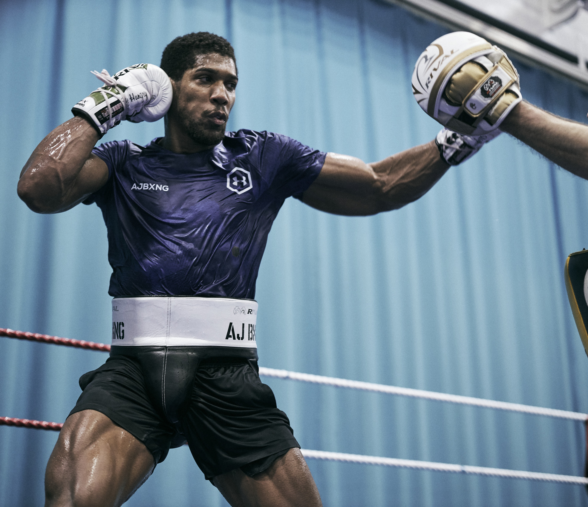 Anthony Joshua Training Sheffield Under Armour Right Hook Punch © Mark Robinson Photographer Matchrrom Boxing 2019.