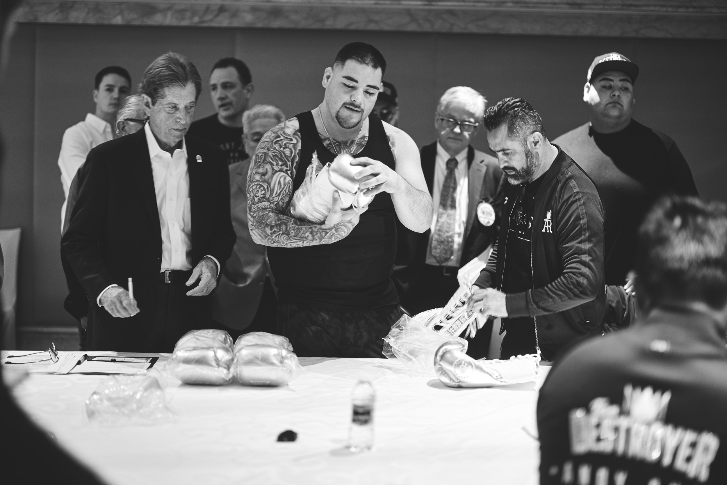 Andy Ruiz Behind The Scenes BTS Rules Meeting  Check Gloves © Mark Robinson Photographer Matchrrom Boxing 2019.