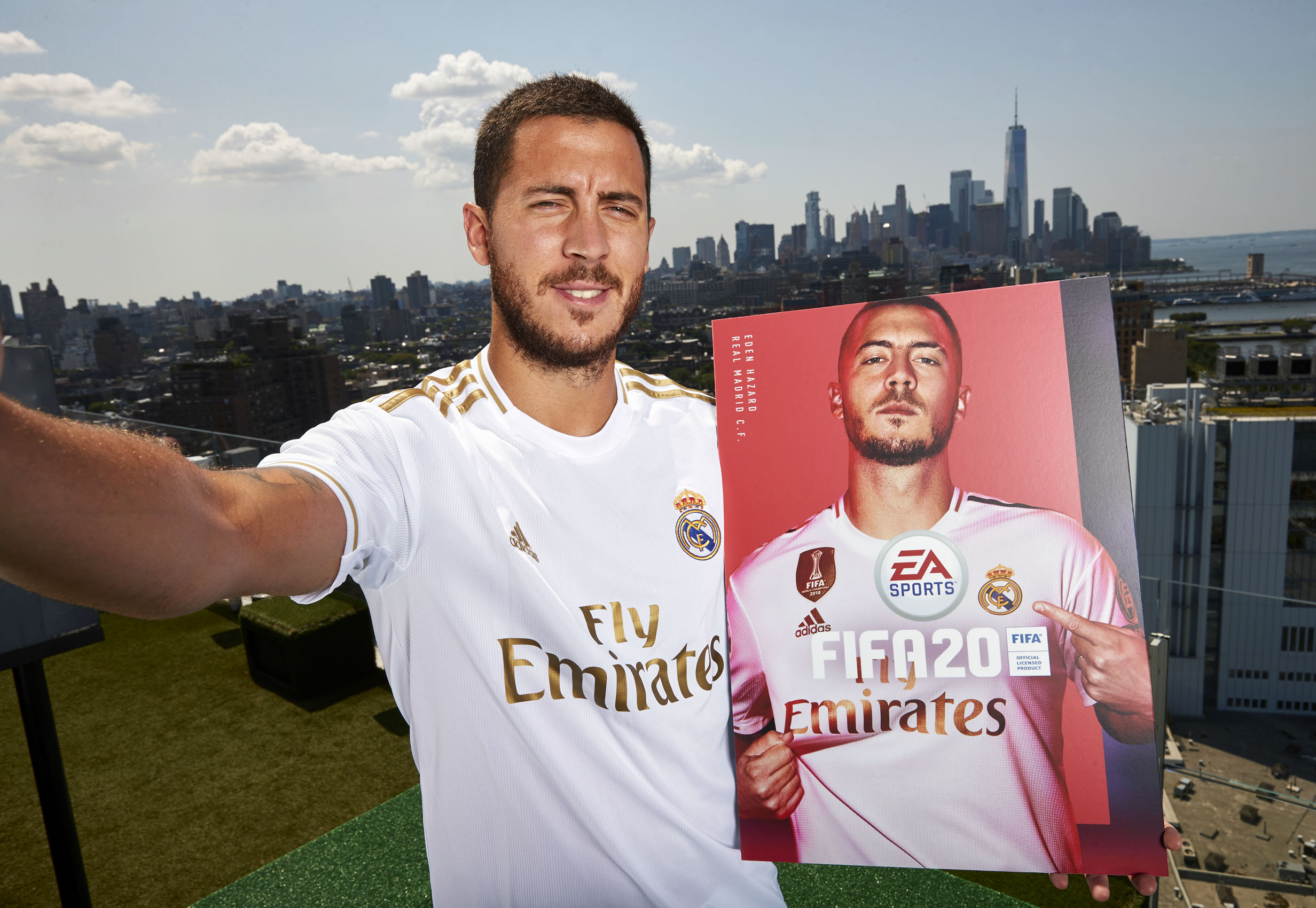 Eden Hazard New York Skyline Rooftop Real Madrid Cover Reveal © Mark Robinson Photographer EA Sports Fifa20