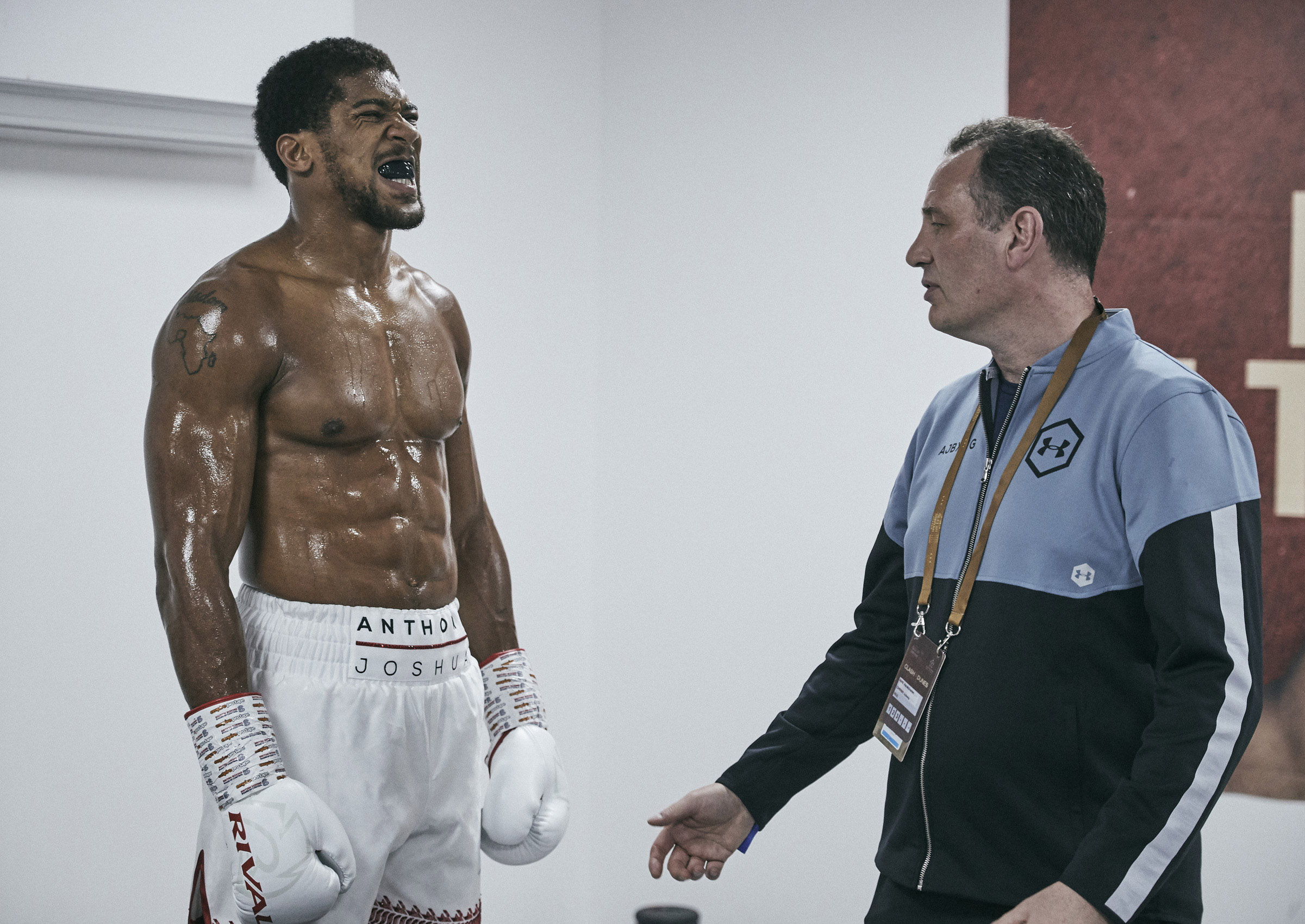 Anthony Joshua Warm Up Backstage Rob McCracken coach final words Saudi Arabia © Mark Robinson Photographer Matchrrom Boxing 2019.