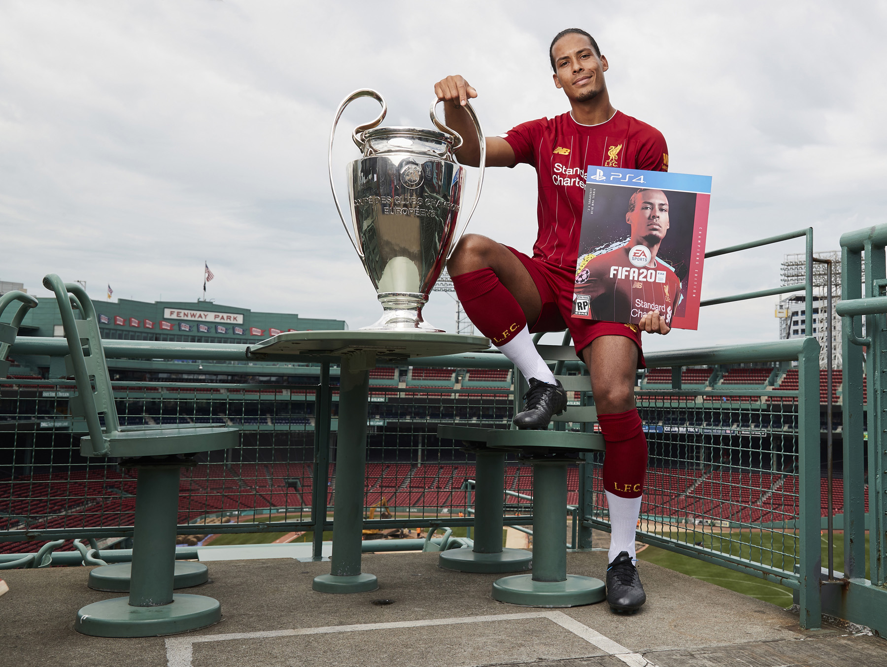 Virgil Van Dijk Liverpool UEFA Champions League European Cup Cover Reveal Boston Fenway Park © Mark Robinson Photographer EA Sports Fifa20