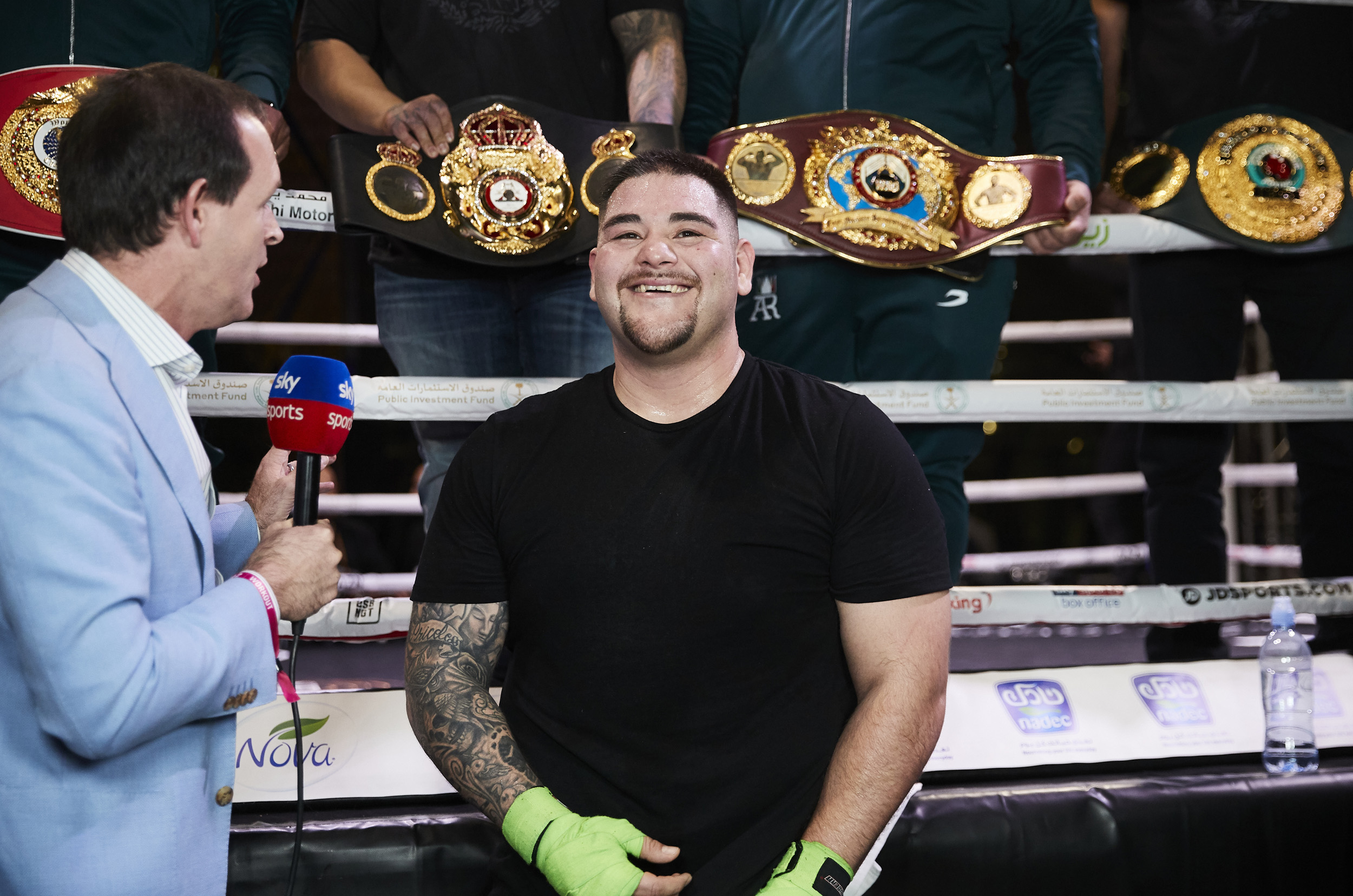 Andy Ruiz Jr interview Sky Sports Belts Saudi Arabia Rematch © Mark Robinson Photographer Matchrrom Boxing