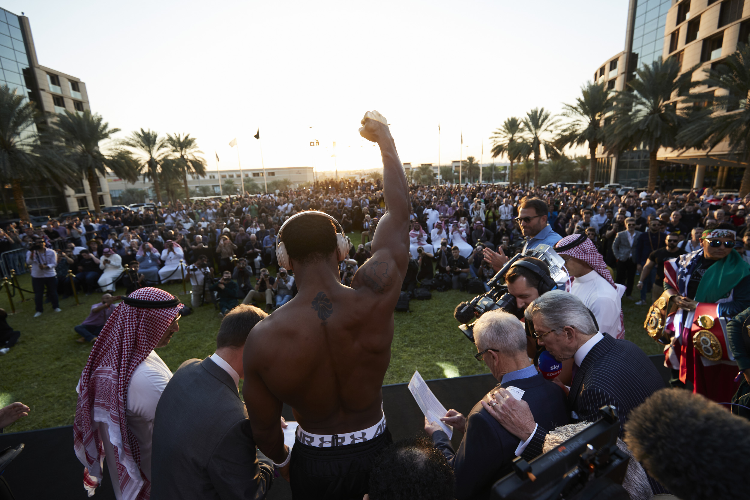 Anthony Joshua Andy Ruiz Jr Weigh In Fist uptown Crowd Saudi Arabia Rematch © Mark Robinson Photographer Matchrrom Boxing